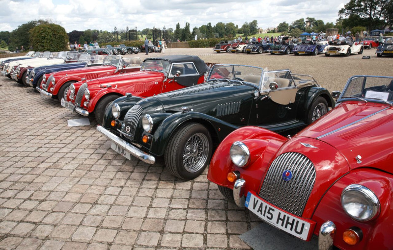 Morgan cars in a line